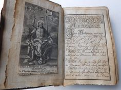 ANTIQUE 18TH 19TH CENTURY LEATHER HANDWRITTEN GERMAN BOOK MANUSCRIPT - from Germany.  Looks like printed etchings were glued in.
