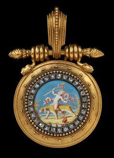 EUGENE FONTENAY 1823 to 1887 Superb Pendant Locket in the Etruscan Style Gold Enamel Diamond - French, c.1870
