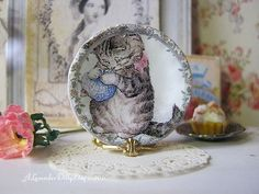 Miss Moppet Plate for Dollhouse by alavenderdilly on Etsy, $4.00