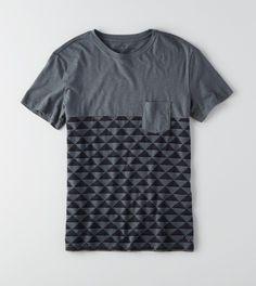 Stone Grey AEO Colorblock Pocket T-Shirt