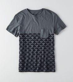 Stone Grey AEO Colorblock Pocket T-Shirt