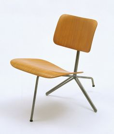 Charles Eames and Ray Eames; Molded Plywood and Lacquered Metal 'Tilt-Back Side Chair' for Evans Products, 1944.