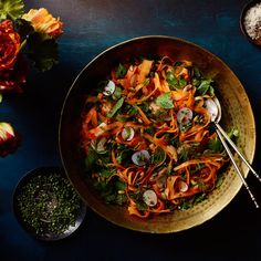 Shaved Carrot and Radish Salad with Herbs and Toasted Pumpkin Seeds / Photo by Chelsea Kyle, Prop Styling by Alex Brannian, Food Styling by Anna Hampton Toasted Pumpkin Seeds, Radish Salad, Carrot Salad, Herb Salad, Salad Bar, Side Salad Recipes, Side Dish Recipes, Passover Recipes, Vegetarian