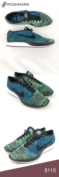e6912cf6162 Nike Flyknit Racer Mens Shoes Sneakers Blue Green Brand new