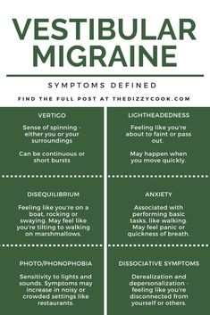 The most common vestibular migraine symptoms explained. Use this list to help describe your symptoms in your next doctor's appointment Types Of Migraines, Chronic Migraines, Fibromyalgia, Chronic Pain, Chronic Illness, Migraine Diet, Migraine Relief, Pain Relief, Libra