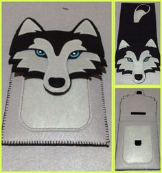 100% handmade siberian husky ipad case using felt cloth
