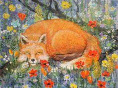 Спящая лиса, картина, наивное искусство, грубые мазки, живопись.