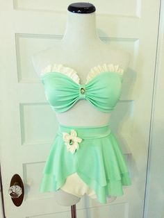 Frog Princess Bikini Set - Lilly Pad Swimsuit  - High Waist Swimsuit with Skirted Bottom - For Girls and Women!!