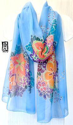 Hand Painted Silk Shawl Blue Kimono Floral. by SilkScarvesTakuyo, $235.00