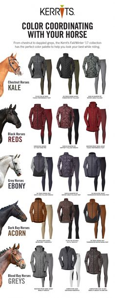 Color Coordinate with your horse! From Chestnut to Dapple greys, the Kerrits Fal… Color Coordinate with your horse! From Chestnut to Dapple greys, the Kerrits Fall/Winter Collection has the perfect color palette to help you look your best while riding. Equestrian Outfits, Equestrian Style, Equestrian Problems, Equestrian Fashion, Cavalo Wallpaper, Horse Facts, Horse Meme, Horse Riding Clothes, Horse Riding Outfits