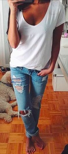 ripped jeans + white tee #wilt