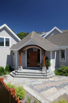 Great Front Entry Of Cape Cod Home Designed With Asian Influence. Architectural  Design ...