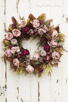 Plum and Mauve Country Cottage Wreath for Fall, Front Door Fall Wreath, Peony Wreath with Pumpkins, Farmhouse Fall Wreath, Plum Fall Decor Country Fall Decor, Fall Home Decor, Autumn Wreaths For Front Door, Fall Wreaths, Apple Decorations, Flower Decorations, Farmhouse Fall Wreath, Cottage Style Decor, Thanksgiving Wreaths