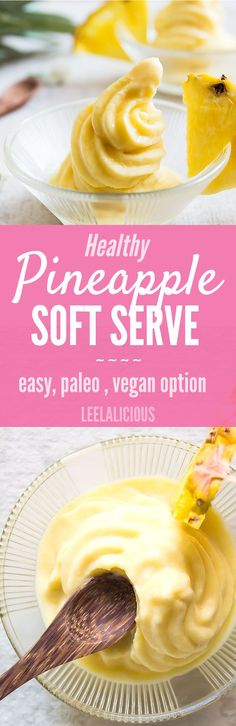 Pineapple Whip is a delicious frozen treat that is actually healthy and super easy to make. Some say it tastes just like at Disneyland, only this is clean eating, paleo friendly and includes a vegan option.