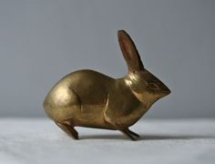"UNKNOWN, BRASS BUNNY: so small! 3"" tall, 4.5"" wide."