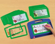 """I was planning to print writing practice cards and slip them into page protectors and then I found this product. At $24.95 plus another 8.95 for the board, this """"Magnadoodle-like"""" tool is a reasonable choice. Plus you can get other practice cards for numbers, time, etc to use with the board."""