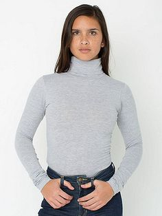 New Color! A sexy take on a classic turtleneck, made from our Cotton Spandex Jersey fabric for a more adjusted feminine fit. #AmericanApaprel #AAFALL