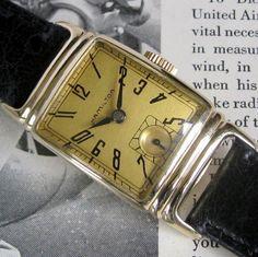 089051139cb Mens 1939 Hamilton WINTHROP 19j Fancy SCULPTED Lug 14K Gold Filled Vintage  Watch Antique Watches