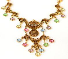 Goldette Egyptian Bib Necklace Crystal by EmbellishgirlVintage, $195.00