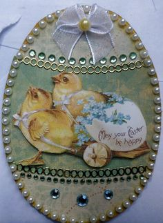 Handmade Easter card using vintage image, beads, sequins, ribbon, etc.