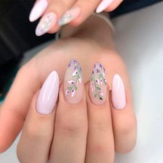 35 Fun And Flirty Floral Designs For Cute Nails This Summer Pale Lavender Nail Art ❤ It is summertime and that means cute nails! Flowers are perfect for pretty dainty nails for the summer! Check out our favorite floral cute nail designs! Flower Nail Designs, Colorful Nail Designs, Cute Nail Designs, Floral Designs, Acrylic Nail Designs For Summer, Almond Nails Designs Summer, Almond Nail Art, Almond Acrylic Nails, Pale Nails