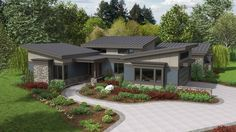 Love the layout of ranch house plans, but crave a modern look and feel? Take a look at these gorgeous home plans from Houseplans.co.