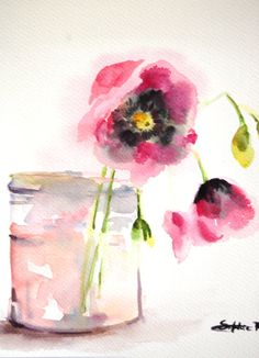 ORIGINAL Watercolor Painting. Pink Flowers in Glass by CanotStop, $72.00