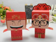 FREE SHIPPING 100pcs chinese Bride and Groom Wedding Favor Boxes gift box candy box wedding bonbonniere