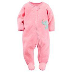 Baby Girl Carter's Polka-Dot Elephant Fleece Sleep & Play, Size:
