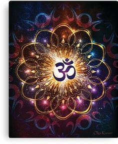 """The higher power of Om"" - sacred geometry Art Print by olgakuczer Mandala Art, Namaste Symbol, Om Symbol, Sacred Geometry Art, Sacred Art, Arte Chakra, Art Fractal, Om Art, Hindu Symbols"