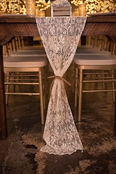 Ivory Lace Runner on Farm Table with Gold Chiavari Chair
