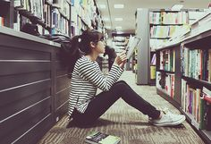 Black,Books,Fashion,Girl,Glasses,Library,Style,Stripes,Read,Sneakers,