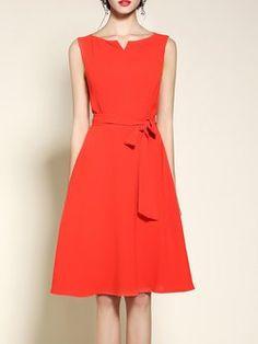 Simple Sleeveless Bow Spandex A-line Midi Dress