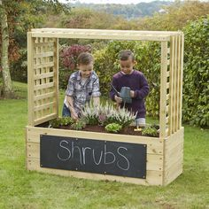 Shaped Planters With Trellis, Ideal Where School Gardens Are Limited.  Wooden Planters, Eyfs