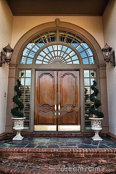 Front door entrance to home. Two wooden front double doors entrance , Main Entrance Door, Door Entryway, House Entrance, Entry Doors, Entrance Ideas, Door Ideas, Double Doors Entryway, Double Door Design, Main Door Design