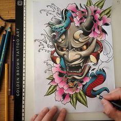 Tattoos From Around The World – Voyage Afield Hannya Mask Tattoo, Hanya Tattoo, Demon Tattoo, Oni Mask, Japanese Mask Tattoo, Japanese Sleeve Tattoos, Tatuajes Tattoos, Irezumi Tattoos, Tattoo Mascara