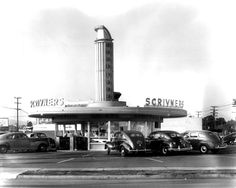 Los Angeles: Scrivner's Drive In – locations: Crenshaw at Jefferson, Crenshaw at Manchester, Imperial Hwy at Western, Wilshire at Crenshaw, Western at Slauson Vintage Cars, Vintage Photos, Vintage Photographs, Vintage Posters, Los Angeles Restaurants, Streamline Moderne, Soda Fountain, Us Cars, Futurism