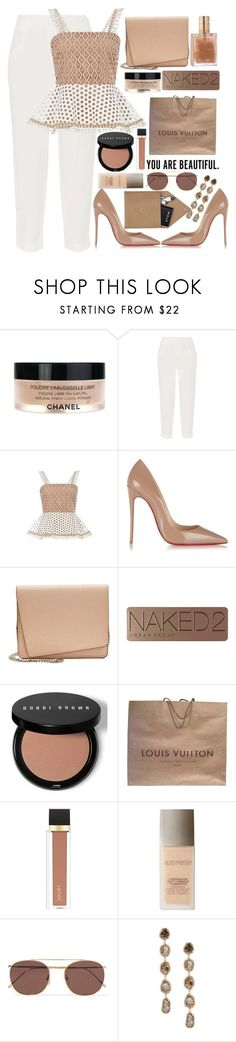 """⏳"" by fashioneex ❤ liked on Polyvore featuring Chanel, Alice + Olivia, Alexis, Christian Louboutin, Valextra, Urban Decay, Bobbi Brown Cosmetics, Louis Vuitton, Jouer and Laura Mercier"