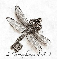 Dragonfly key with bible quote