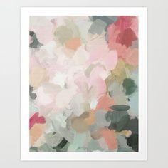 Forest Green Fuchsia Blush Pink Abstract Flower Spring Painting Art Metal Wall Art by Rachel Elise - LARGE Pink Canvas Art, Pink Art, Canvas Art Prints, Pink Abstract, Abstract Flowers, Spring Painting, Painting Art, Green Paintings, Abstract Paintings
