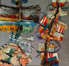 Whitstable - fragments of fabric, and threads with acrylic paint.