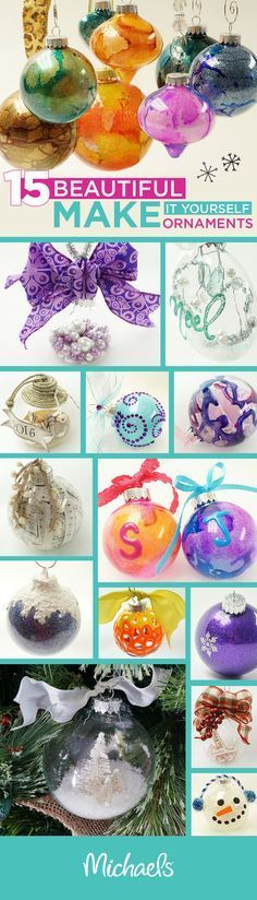 Make it merry this holiday season with DIY ornaments for your tree. Here are 15 different ways to decorate a glass or plastic ornament. What a great idea for an ornament exchange or even handmade gifts for family and friends! Visit Michaels.com for all of your DIY holiday supplies and inspiration.