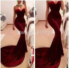 Hot&Sexy Burgundy Velvet Zuhair Murad Mermaid Formal Evening Dress 2014 Long Train Women Special Occasion Dresses