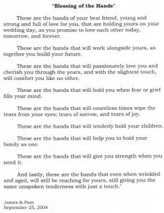 Blessing Of The Hands Love Family Marriage Husband Wife