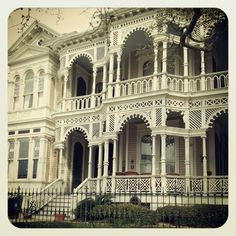 "Many old Victorian homes like this are in Galveston's East End Historical District.  Many are on Broadway Blvd and they withstood the ""Great Storm"" of 1900."