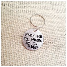 Metal stamp keychain wedding gift for mother or father of the groom from the bride, made in Canada