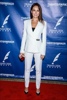 Laura Benanti rocks a white suit and tuxedo pumps