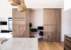 Study nook with wooden slats as divider. Robertson by Adam Taylor Architecture : Study nook with wooden slats as divider. Robertson by Adam Taylor Architecture Home Office Closet, Office Nook, Home Office Space, Home Office Decor, Home Decor, Office Ideas, Small Space Office, Desk Ideas, Study Office