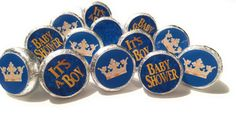 Little Prince Baby Shower Party Decorations - Gold & Blue - Stickers for Hershey Kisses - (set of 324) -Free Shipping Use Code SHIPFREE