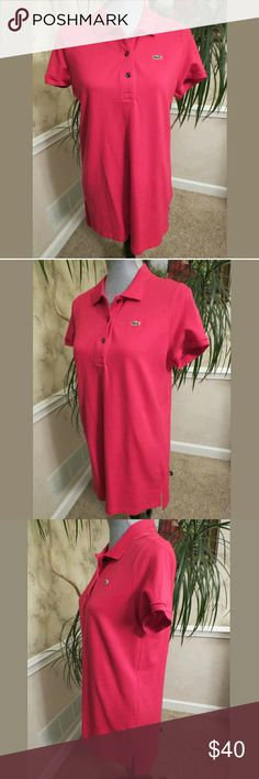 """AUTHENTIC Polo Style Shirt Dress by LACOSTE *Measures APX 29 1/2""""-31"""" from shoulder to hem & 18"""" armpit-to-armpit. ...depending on your height, can be worn as either dress or tunic shirt (I purchased thru another site & I wanted to wear as dress, but it was to short for me) AUTHENTIC! Lacoste brand - Size 44 - Melon Pink color - Polo style shirt dress - 3-button closure ~ Embroidered logo branding ~ Seam slits at bottom ~ Hem at front is shorter than back, 94% Cotton & 6% Elastane. It is…"""